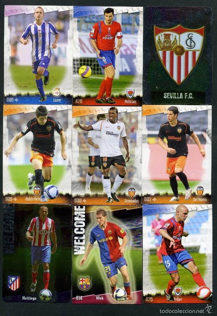 9 FICHAS DIFERENTES DE LA LIGA 2008 09 - COLECCION OFICIAL DE TRADING CARDS DE MUNDI CROMO - LOTE 44 (Coleccionismo Deportivo - Álbumes y Cromos de Deportes - Cromos de Fútbol)