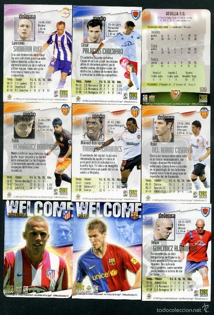 Cromos de Fútbol: 9 FICHAS DIFERENTES DE LA LIGA 2008 09 - COLECCION OFICIAL DE TRADING CARDS DE MUNDI CROMO - LOTE 44 - Foto 2 - 55885108