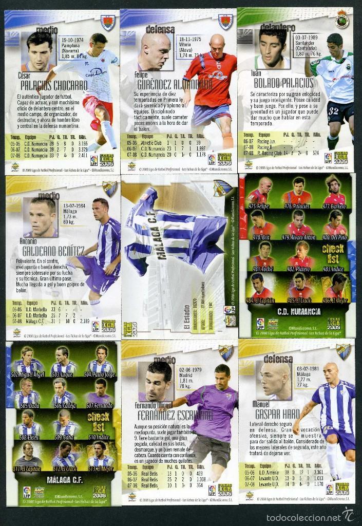 Cromos de Fútbol: 9 FICHAS DIFERENTES DE LA LIGA 2008 09 - COLECCION OFICIAL DE TRADING CARDS DE MUNDI CROMO - LOTE 47 - Foto 2 - 55886238