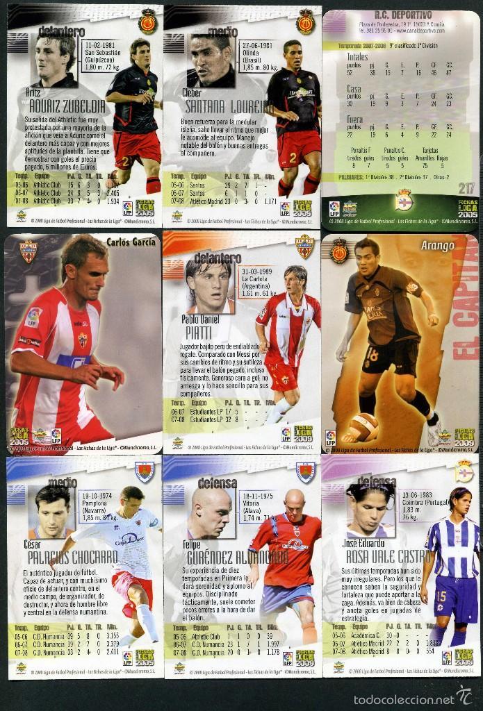 Cromos de Fútbol: 9 FICHAS DIFERENTES DE LA LIGA 2008 09 - COLECCION OFICIAL DE TRADING CARDS DE MUNDI CROMO - LOTE 52 - Foto 2 - 55895190