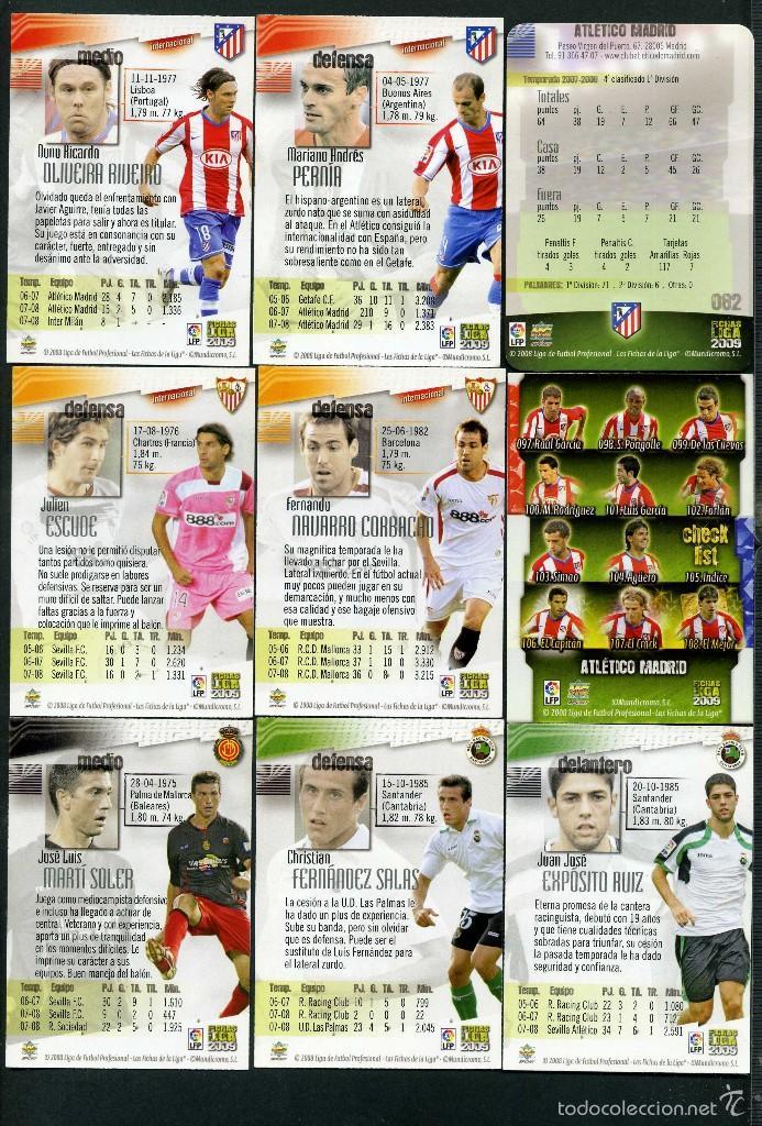 Cromos de Fútbol: 9 FICHAS DIFERENTES DE LA LIGA 2008 09 - COLECCION OFICIAL DE TRADING CARDS DE MUNDI CROMO - LOTE 54 - Foto 2 - 55897664