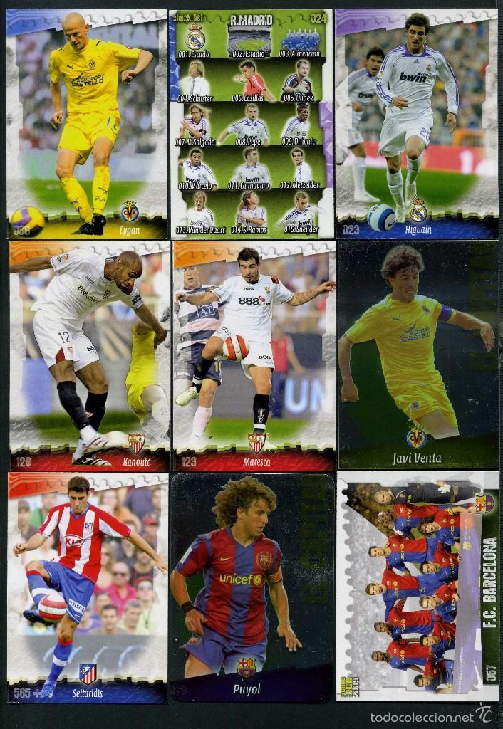 9 FICHAS DIFERENTES DE LA LIGA 2008 09 - COLECCION OFICIAL DE TRADING CARDS DE MUNDI CROMO - LOTE 55 (Coleccionismo Deportivo - Álbumes y Cromos de Deportes - Cromos de Fútbol)