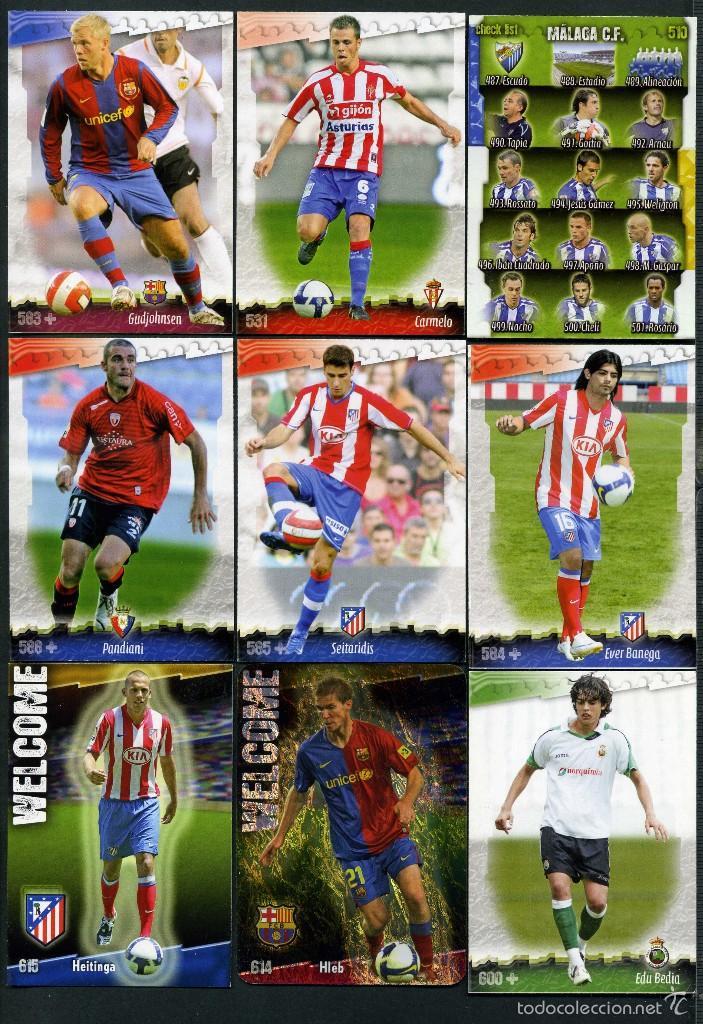 9 FICHAS DIFERENTES DE LA LIGA 2008 09 - COLECCION OFICIAL DE TRADING CARDS DE MUNDI CROMO - LOTE 56 (Coleccionismo Deportivo - Álbumes y Cromos de Deportes - Cromos de Fútbol)