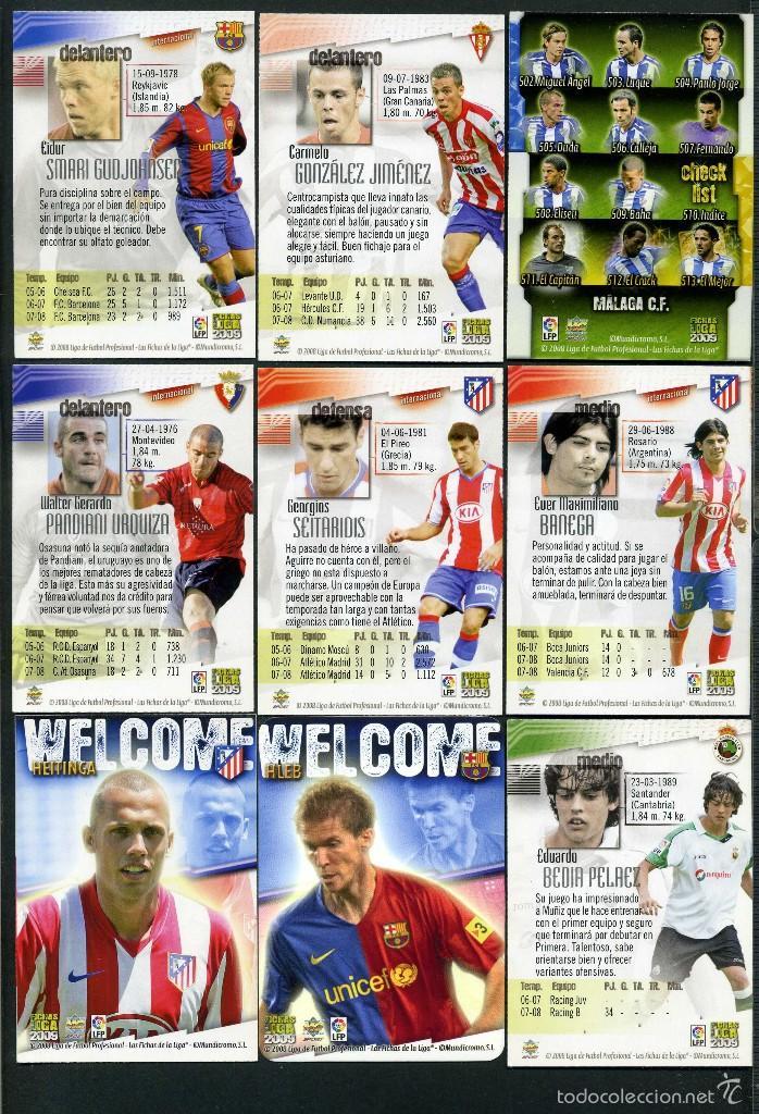 Cromos de Fútbol: 9 FICHAS DIFERENTES DE LA LIGA 2008 09 - COLECCION OFICIAL DE TRADING CARDS DE MUNDI CROMO - LOTE 56 - Foto 2 - 55898501