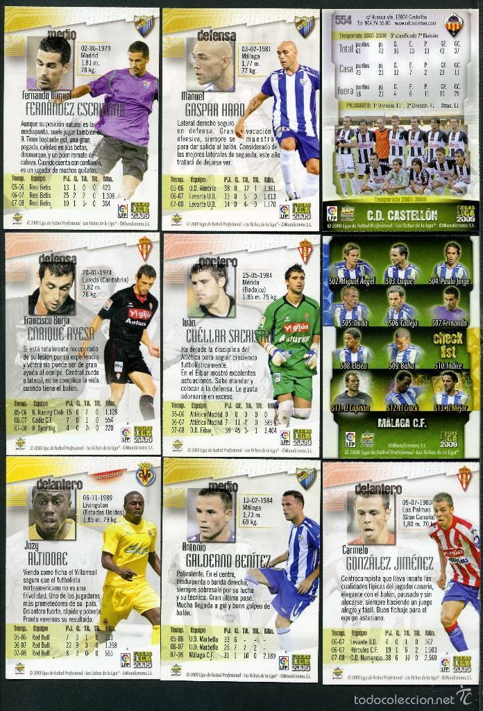 Cromos de Fútbol: 9 FICHAS DIFERENTES DE LA LIGA 2008 09 - COLECCION OFICIAL DE TRADING CARDS DE MUNDI CROMO - LOTE 57 - Foto 2 - 55898718