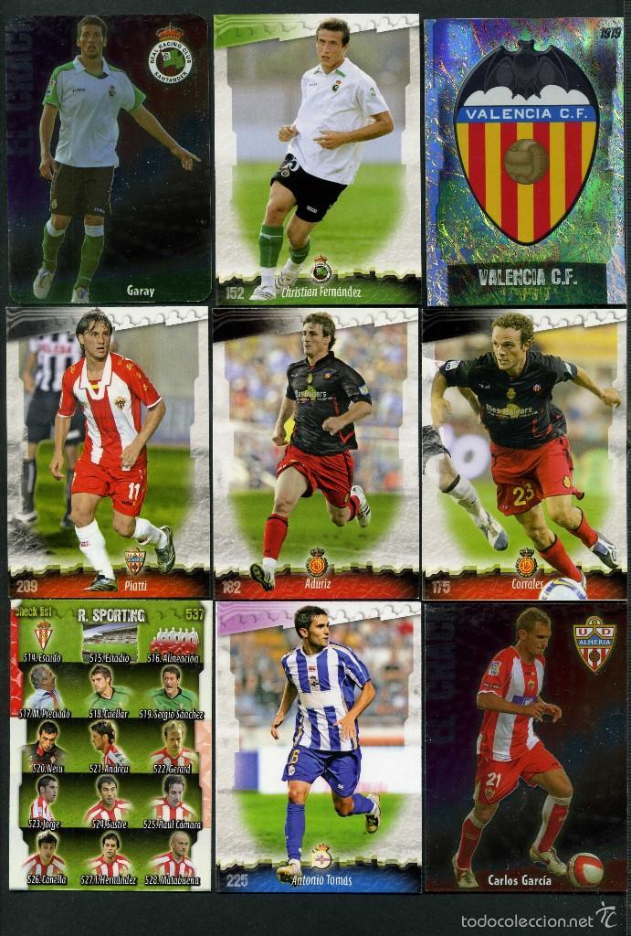 9 FICHAS DIFERENTES DE LA LIGA 2008 09 - COLECCION OFICIAL DE TRADING CARDS DE MUNDI CROMO - LOTE 60 (Coleccionismo Deportivo - Álbumes y Cromos de Deportes - Cromos de Fútbol)