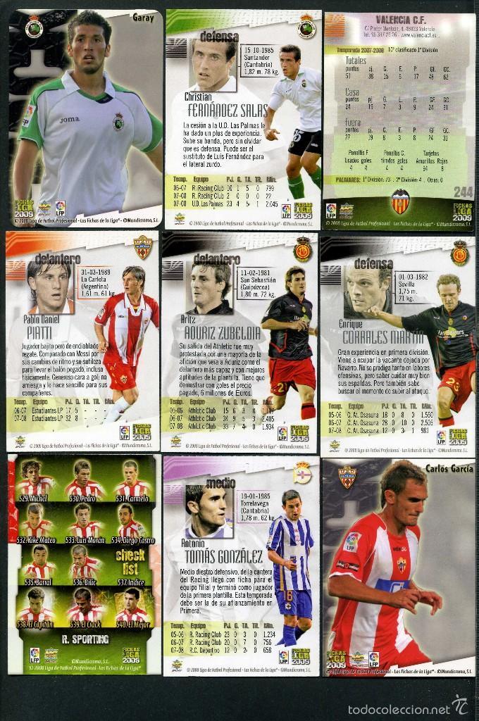 Cromos de Fútbol: 9 FICHAS DIFERENTES DE LA LIGA 2008 09 - COLECCION OFICIAL DE TRADING CARDS DE MUNDI CROMO - LOTE 60 - Foto 2 - 55899446