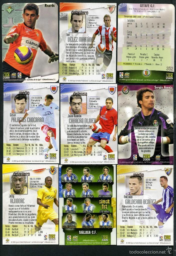 Cromos de Fútbol: 9 FICHAS DIFERENTES DE LA LIGA 2008 09 - COLECCION OFICIAL DE TRADING CARDS DE MUNDI CROMO - LOTE 62 - Foto 2 - 55899852