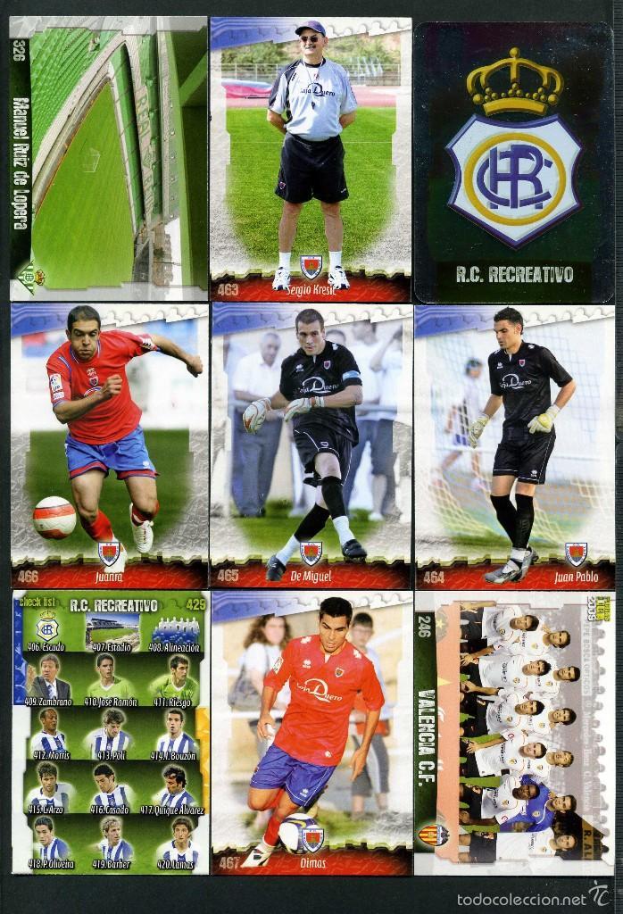 9 FICHAS DIFERENTES DE LA LIGA 2008 09 - COLECCION OFICIAL DE TRADING CARDS DE MUNDI CROMO - LOTE 91 (Coleccionismo Deportivo - Álbumes y Cromos de Deportes - Cromos de Fútbol)
