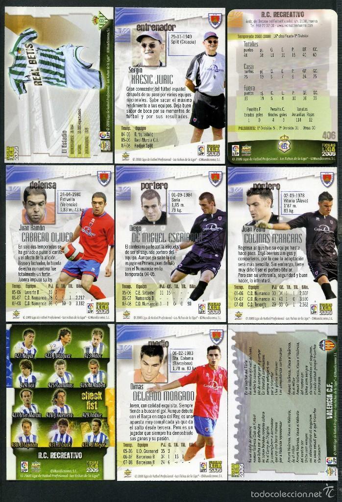 Cromos de Fútbol: 9 FICHAS DIFERENTES DE LA LIGA 2008 09 - COLECCION OFICIAL DE TRADING CARDS DE MUNDI CROMO - LOTE 91 - Foto 2 - 55916308