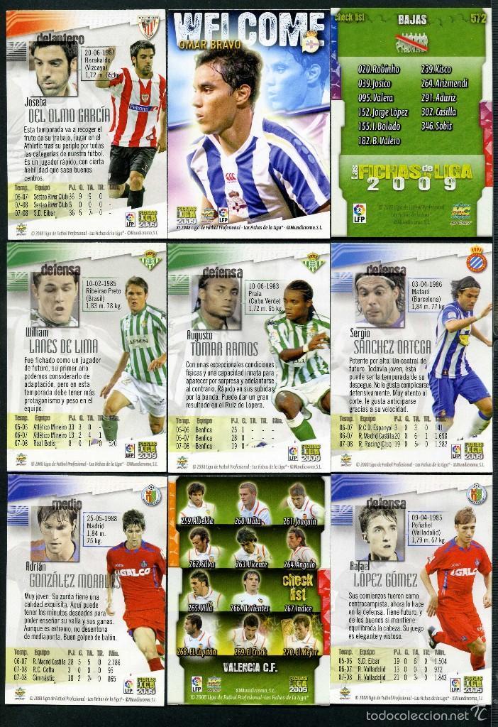 Cromos de Fútbol: 9 FICHAS DIFERENTES DE LA LIGA 2008 09 - COLECCION OFICIAL DE TRADING CARDS DE MUNDI CROMO - LOTE 99 - Foto 2 - 55916391