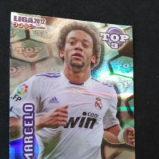 Cromos de Fútbol: 578 MARCELO - REAL MADRID - TOP BRILLO RAYAS AZUL - MUNDICROMO - FICHAS QUIZ LIGA 2012 12. Lote 56071142