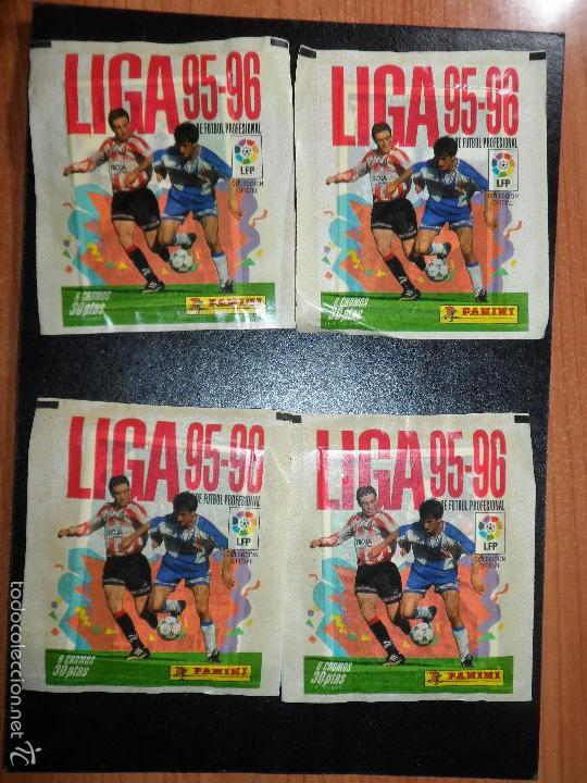 4 SOBRES SOBRE SIN ABRIR LIGA 95 96 1995 1996 PANINI (Coleccionismo Deportivo - Álbumes y Cromos de Deportes - Cromos de Fútbol)