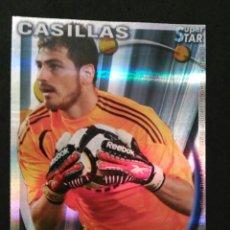 Cromos de Fútbol: 50 CASILLAS - SUPERSTAR BRILLO RAYAS AGUAS - REAL MADRID - MUNDICROMO MC - FICHAS QUIZ LIGA 2011 11. Lote 269203528