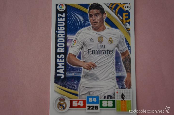 CROMO CARD DE FÚTBOL:JAMES RODRÍGUEZ DEL REAL MADRID,Nº 233,LIGA ADRENALYN XL 2015-2016/15-16 (Coleccionismo Deportivo - Álbumes y Cromos de Deportes - Cromos de Fútbol)