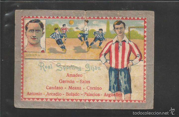 FUTBOL- REAL SPORTING GIJON - MEANA - ALINEACION - CHOCOLATE JUNCOSA -(V-6332) (Coleccionismo Deportivo - Álbumes y Cromos de Deportes - Cromos de Fútbol)