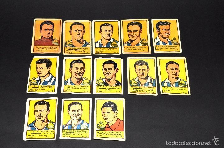 LOTE 13 CROMOS FUTBOLISTAS REAL SOCIEDAD. ALBUM CULTURA. BRUGUERA . AÑOS 40S. NUNCA PEGADOS (Coleccionismo Deportivo - Álbumes y Cromos de Deportes - Cromos de Fútbol)