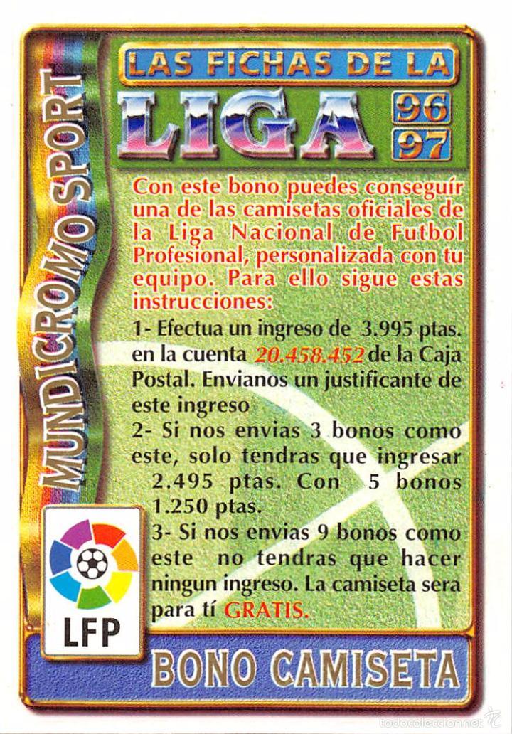 MUNDICROMO 96/97 1996/1997 BONO CAMISETA (Coleccionismo Deportivo - Álbumes y Cromos de Deportes - Cromos de Fútbol)