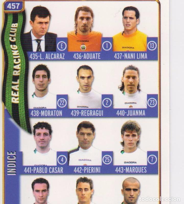 457.- INDICE RACING SANTANDER - MUNDICROMO 2005 (MUNDICROMO) (Coleccionismo Deportivo - Álbumes y Cromos de Deportes - Cromos de Fútbol)