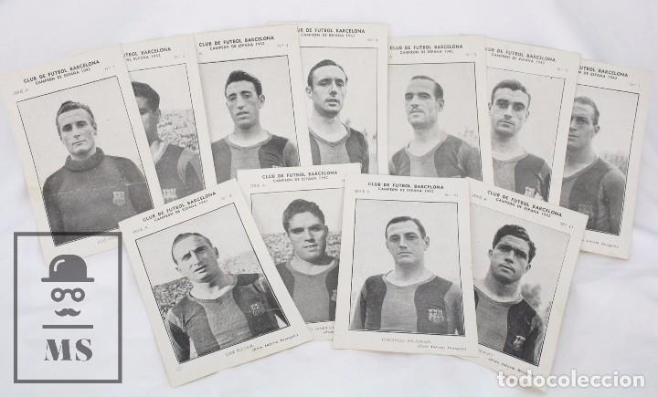 CONJUNTO DE 11 CROMOS DE FÚTBOL. CF BARCELONA. CAMPEÓN ESPAÑA 1942 - SERIE A - FALTA 1 CROMO, Nº 12 (Coleccionismo Deportivo - Álbumes y Cromos de Deportes - Cromos de Fútbol)