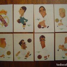 Cromos de Fútbol: REAL MADRID - 7 CROMOS DIFERENTES SIN PEGAR - ALBUM BALOMPIE 1954 - CARICATURAS DE CRONOS. Lote 72068075