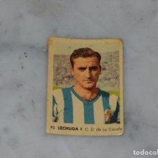 Cromos de Fútbol: DEPORTIVO DE LA CORUÑA - 90 LECHUGA - CAMPEONATOS NACIONALES DE FUTBOL 1956, RUIZ ROMERO, SIN PEGAR. Lote 180012367