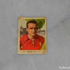 Cromos de Fútbol: MURCIA CF - 171 VALLE - CAMPEONATOS NACIONALES DE FUTBOL 1956, RUIZ ROMERO, SIN PEGAR. Lote 180011586