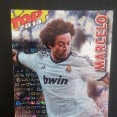 Cromos de Fútbol: 581 MARCELO (REAL MADRID) TOP BRILLO AZUL FONDO LETRAS , MUNDICROMO QUIZ GAME 2013 2014. Lote 76420275