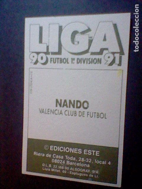 Cromos de Fútbol: ed este recuperado 1990 90 91 valencia nando - Foto 2 - 78442385