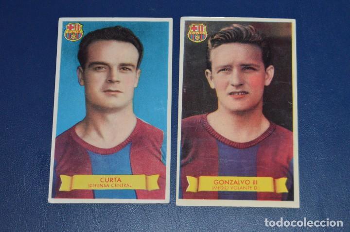 LOTE DE 2 CROMOS - CURTA - GONZALVO III - FC BARCELONA - BRUGUERA - AÑOS 40 / 50 - ¡HAZ UNA OFERTA! (Coleccionismo Deportivo - Álbumes y Cromos de Deportes - Cromos de Fútbol)