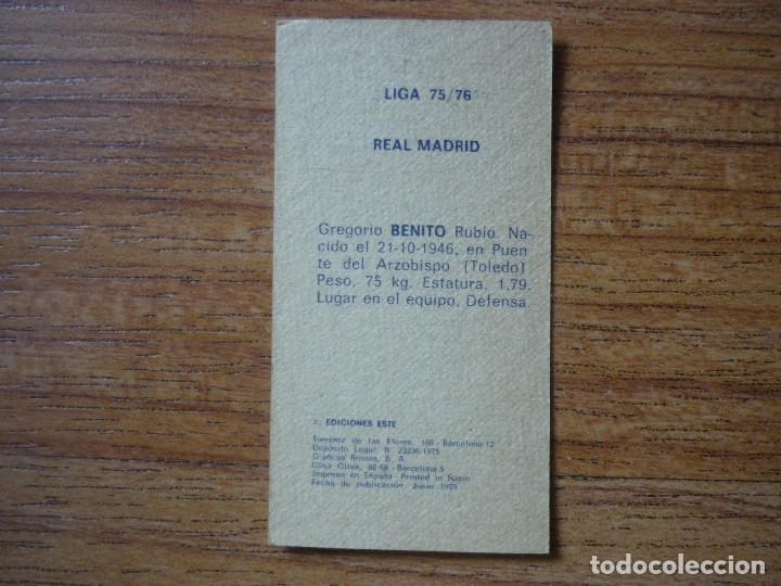 Cromos de Fútbol: CROMO LIGA ESTE 75 76 BENITO (REAL MADRID) - NUNCA PEGADO - 1975 1976 - Foto 2 - 90835840