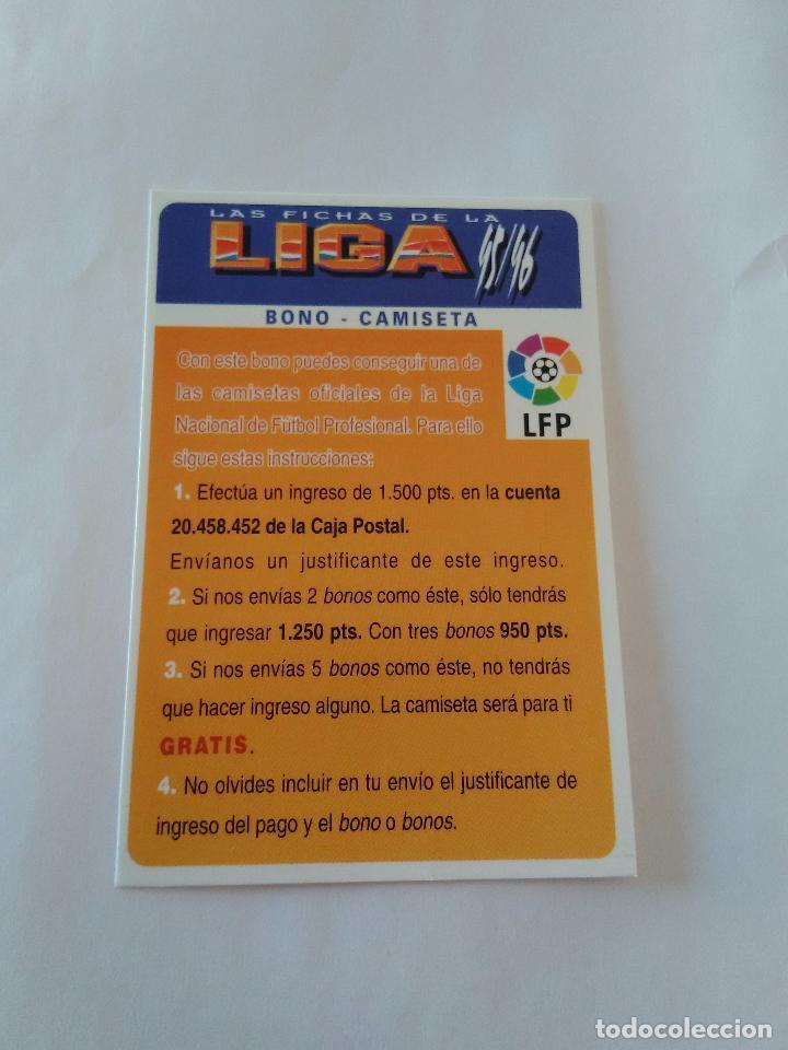 LAS FICHAS DE LA LIGA 1995-1996, 95-96 MUNDICROMO - TARJETA BONO - CAMISETA (Coleccionismo Deportivo - Álbumes y Cromos de Deportes - Cromos de Fútbol)