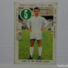 Cromos de Fútbol: CROMO CARTA ASES Y ESTRELLAS EDITORIAL FHER 1969 - DE FELIPE - REAL MADRID. Lote 92829340