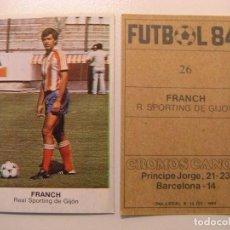 Cromos de Fútbol: FICHAJE Nº26 FRANCH GIJON CROPAN CROMOS CANO FUTBOL 83 84 DIFICIL CROMO SIN PEGAR NO ESTE. Lote 96099559