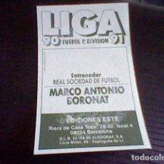 Cromos de Fútbol - cromo RECUPERADO ed este liga 1990 91 1991 90 REAL SOCIEDAD BORONAT - 98075767