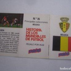 Cromos de Fútbol: INTERESANTE CROMO HISTORIA DE LOS MUNDIALES DE FUTBOL PHOSKITOS Nº 35 BELGICA NUEVO PERFECTO ESTADO. Lote 136242165