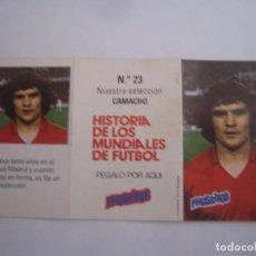 Cromos de Fútbol: INTERESANTE CROMO HISTORIA DE LOS MUNDIALES DE FUTBOL PHOSKITOS Nº 23 CAMACHO NUEVO PERFECTO ESTADO. Lote 101064751