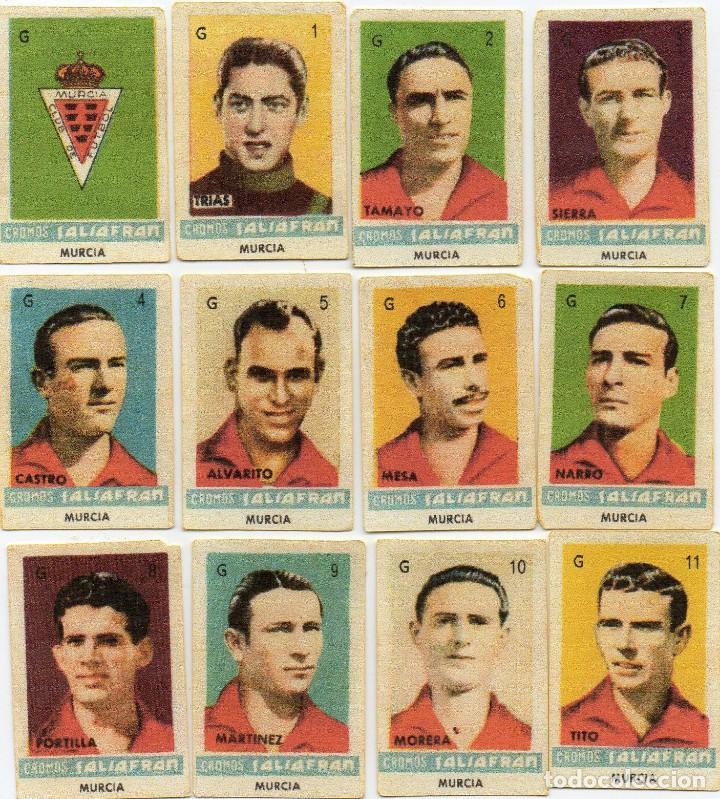 MURCIA,TEMPORADA 1944-45, DE AZAFRAN SALSAFRAN, DE NOVELDA ALICANTE (Coleccionismo Deportivo - Álbumes y Cromos de Deportes - Cromos de Fútbol)