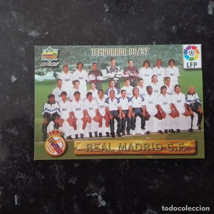 ALINEACION PLANTILLA, REAL MADRID, Nº 91, LAS FICHAS DE LA LIGA 1996 1997 MUNDICROMO 96 97 (Coleccionismo Deportivo - Álbumes y Cromos de Deportes - Cromos de Fútbol)
