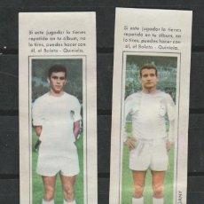 Cromos de Fútbol: LOTE 2 CROMOS FUTBOL VALENCIA SUCO Y VIDEGANY AÑOS 60 CHOCOLATES SAMALLI AÑOS 60. Lote 180435708