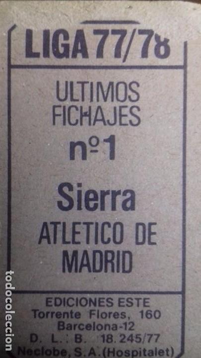 Cromos de Fútbol: último fichaje sierra at. Madrid este 77 78 despegado - Foto 2 - 105222891