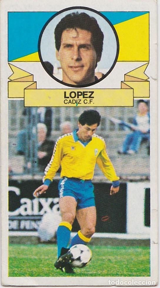 9562- CROMO NUEVO LIGA ESTE 85-86 LOPEZ (CÁDIZ) BAJA (Coleccionismo Deportivo - Álbumes y Cromos de Deportes - Cromos de Fútbol)