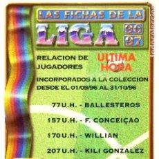 Cromos de Fútbol: INDICE - ULTIMA HORA I - MUNDICROMO MC - FICHAS LIGA 1996 1997 96 97. Lote 105714059