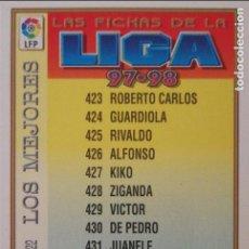 Cromos de Fútbol: 422 INDICE LOS MEJORES - MUNDICROMO MC - FICHAS LIGA 1997 1998 97 98. Lote 248150140