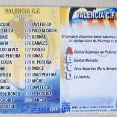 Figurine di Calcio: 130 FICHA INDICE VALENCIA CF MUNDICROMO 2013 2014 13 14. Lote 109084723