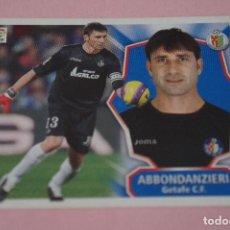 Cromos de Fútbol: CROMO DE FÚTBOL ABBONDANZIERI DEL GETAFE C.F. SIN PEGAR LIGA ESTE 2008-2009/08-09. Lote 110483463