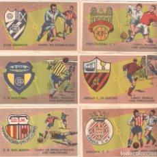 Cromos de Fútbol: EMBLEMAS DE CLUBS DE FÚTBOL CON HISTORIAL. CIGARRILLOS JOSÉ LÓPEZ LUIS, 1954. 6 CROMOS DE 80. Lote 112218419