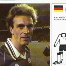 Cartes à collectionner de Football: FICHA DE LA COLECCION ESTRELLAS DEL MUNDIAL 82 - Nº 8 RUMMENIGGE - BAYERN MUNICH - EN BUEN ESTADO. Lote 117320995