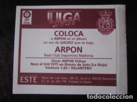 Cromos de Fútbol: ARPON COLOCA MALLORCA EDICIONES ESTE 98 99 1998 1999 CROMO RECUPERADO VENTANILLA - Foto 2 - 118113139