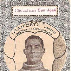Cromos de Fútbol: MARCET - PORTERO DEL RACING CLUB DE MADRID - CHOCOLATES SAN JOSÉ - IGNACIO LLINARES VILLAJOYOSA. Lote 120848119